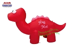 7' Air Blown Inflatable Red Valentines Day Dinosaur