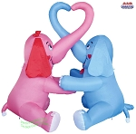 6' Air Blown Inflatable Valentine's Day Elephant Couple Heart Scene