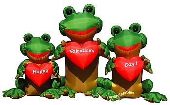 9' Air Blown Inflatable Valentine's Day 3 Frogs w/ Hearts