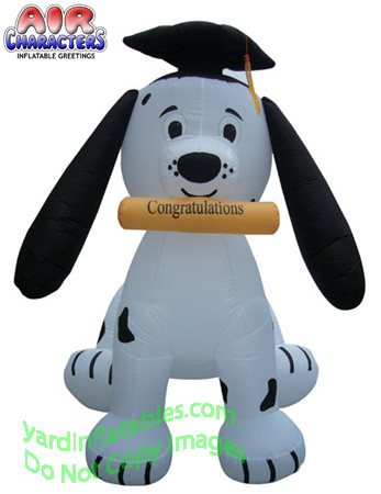 7' Air Blown Inflatable Graduation Puppy Dog