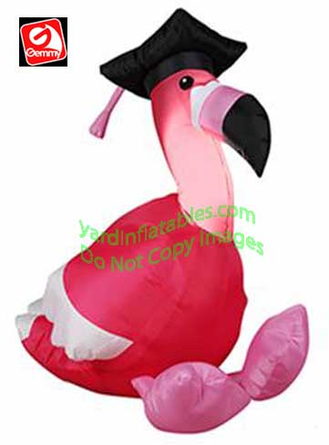 3' Gemmy Airblown Inflatable Flamingo Wearing Graduation Cap
