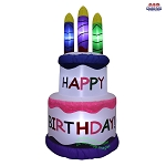 5' Air Blown Inflatable Happy Birthday Cake w/ Candles