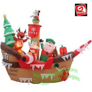 10' Airblown Inflatable Giant Christmas Pirate Ship Scene