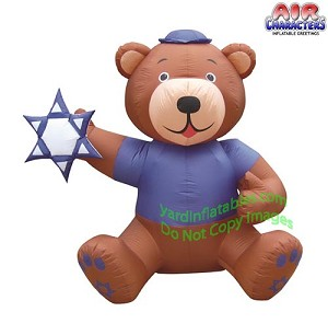 6 1/2' Hanukkah Brown Bear Holding Star Of David