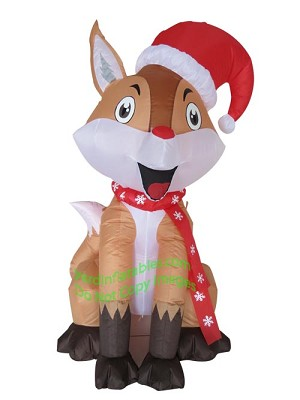 4' Inflatable Fox Wearing Santa Hat