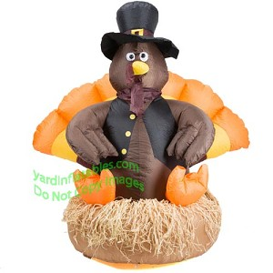 5' Inflatable Turkey Sitting On Straw