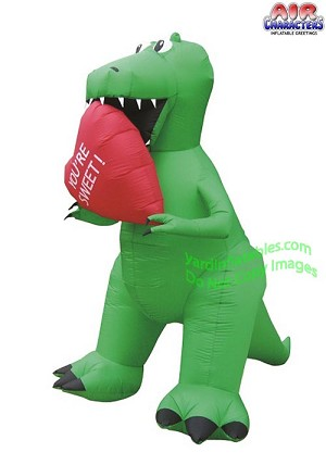 "7' Air Blown Inflatable Valentine's Day T-Rex Holding ""YOU'RE SWEET"" Heart"