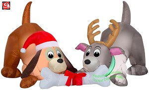 5' Gemmy Airblown Inflatable 2 Christmas Puppies w/ Bone