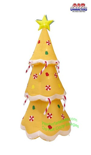 8' Air Blown Inflatable Gingerbread Christmas Tree