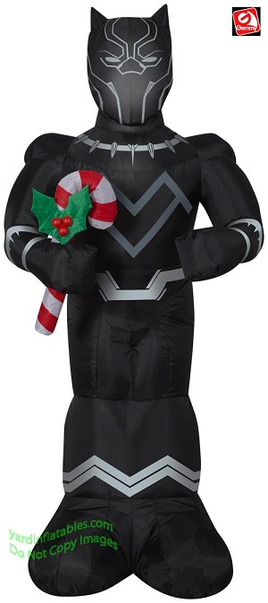 3 1/2' Airblown Inflatable Black Panther w/ Candy Cane
