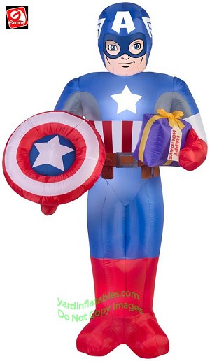 6' Marvel Captain America w/ Shield Holding Present