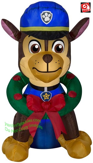 3' Gemmy Airblown Inflatable Paw Patrol Chase Police Dog w/ Christmas Wreath