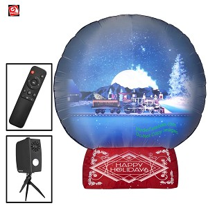 7 1/2' Gemmy Airblown Inflatable Living Projection Snow Globe