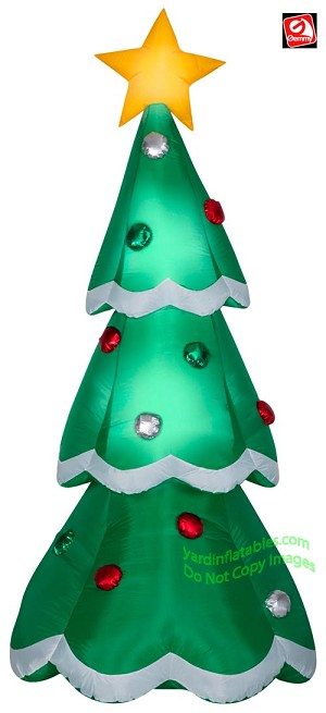 7' Airblown Inflatable Mixed Media Metallic Christmas Tree