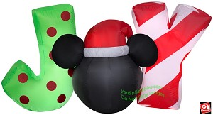 5' Gemmy Airblown Inflatable Christmas Mickey Mouse Head JOY Sign
