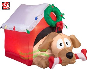 5 1/2' Animated Dog In Doghouse w/ Candy Cane Bone Preview