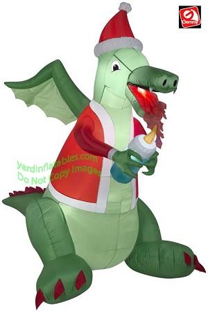 Inflatable Christmas Dragon.6 1 2 Christmas Dragon Holding A Candle