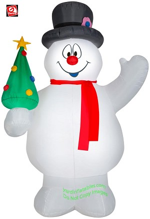9' Gemmy Airblown Inflatable Frosty the Snowman Holding Christmas Tree