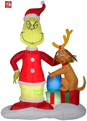 6' Gemmy Airblown Inflatable Grinch & Max Presents Scene