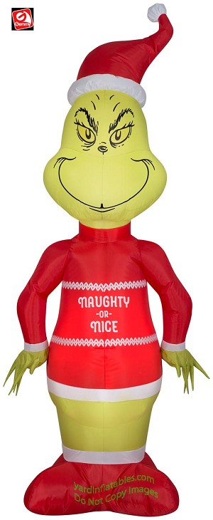 5 1/2' Gemmy Airblown Inflatable Grinch w/ Naughty or Nice Sweater