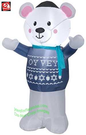 4' Airblown Inflatable Hanukkah Polar Bear