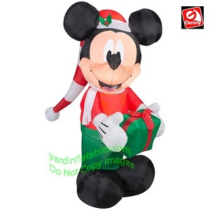 6' Mickey Mouse In Stocking Hat Holding Present