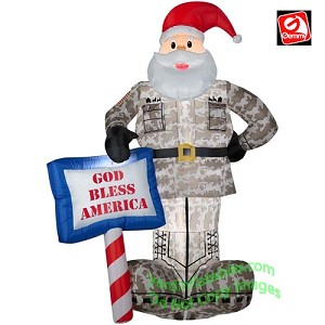 "7' Airblown Military Santa w ""God Bless America"" Sign"