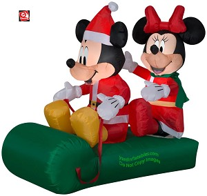 5' Gemmy Airblown Inflatable Mickey & Minnie Mouse Sled Scene