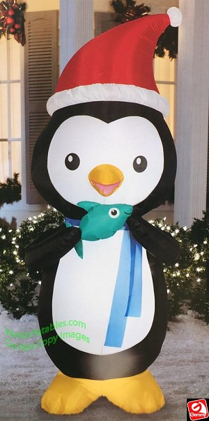 6' Animated Airblown Inflatable Nom Nom Penguin w/ Fish