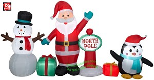 9' Gemmy Airblown Inflatable North Pole Collection Scene w/ Santa, Penguin, and Snowman