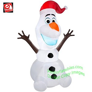 3 1/2' Gemmy Airblown Inflatable Olaf w/ Santa Hat