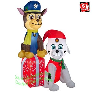 7' Gemmy Airblown Inflatable Paw Patrol Chase Marshall Christmas Presents Scene