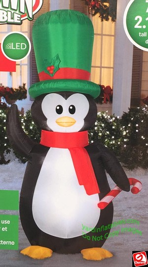 7' Airblown Inflatable Penguin w/ Top Hat and Scarf