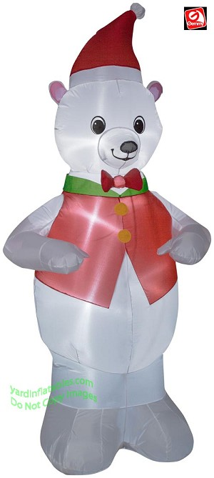 7' Airblown Inflatable Polar Bear Wearing Red Vest
