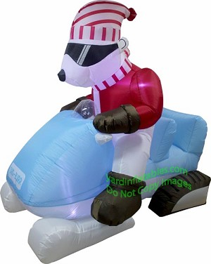6' Air Blown Animated Inflatable Polar Bear Driving Snow Mobile