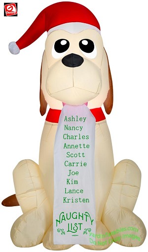 5 1/2' Gemmy Airblown Inflatable Christmas Puppy w/ Naughty List