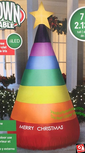 7' Airblown Inflatable Rainbow Christmas Cone Tree