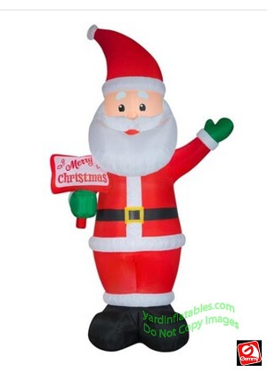 12' Airblown Inflatable Santa w/ Merry Christmas Sign