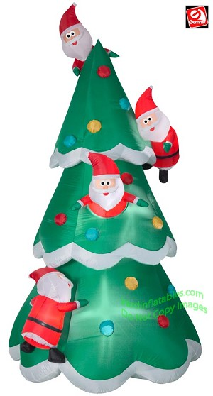 9' Airblown Inflatable Christmas Tree of Many Santa's Scene