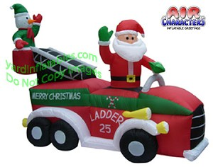 7' Air Blown Inflatable Santa Driving Fire Truck With Snowman In Ladder