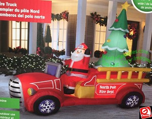9' Airblown Inflatable Santa Firetruck w/ Christmas Tree