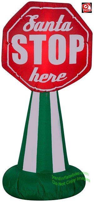"3 1/2' Airblown Inflatable ""Santa Stop Here"" Sign"