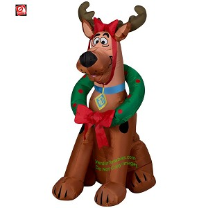 3' Gemmy Airblown Inflatable Scooby Doo As A Reindeer w/ Wreath
