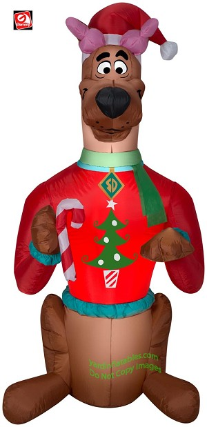 5' Gemmy Airblown Inflatable Scooby Doo Wearing Christmas Sweater