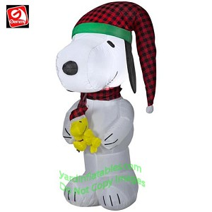 4' Snoopy w/ Plaid Hat & Scarf Holding Woodstock