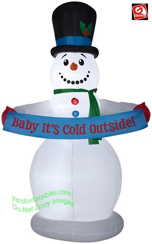 8' Airblown Inflatable Snowman w/ Banner