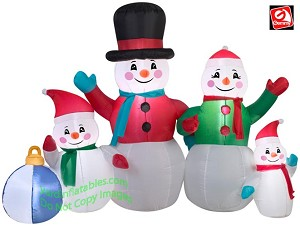 6 1/2' Snowman Family w/ Ornament