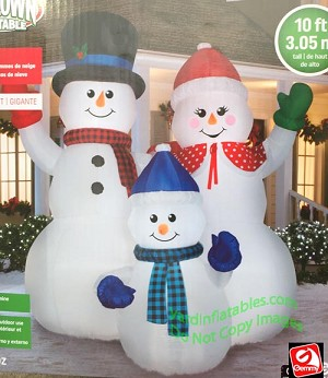 10' Airblown Inflatable GIANT Snowman Family Scene