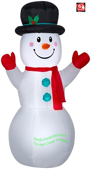 5' Gemmy Airblown Inflatable Snowman w/ Top hat and Red Mittens
