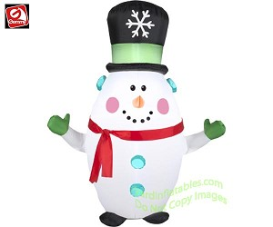 3 1/2' Snowman Wearing Top Hat & Red Scarf